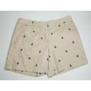 British Khaki Anchor Embroidered Shorts Size 2